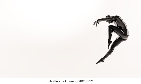 Abstract black plastic human body mannequin figure over white background. Action dance jump ballet pose. 3D rendering illustration