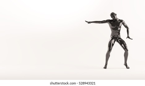 Abstract black plastic human body mannequin figure over white background. Action break dance electric pose. 3D rendering illustration