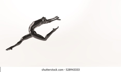 Abstract black plastic human body mannequin figure over white background. Action running and jumping ballet pose. 3D rendering illustration