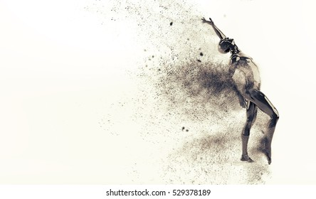 Abstract black plastic human body mannequin figure with scattering particles over white background. Action dance pose. 3D rendering illustration
