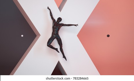 Abstract black plastic human dance body mannequin over big white X letter and black coral pastel background. Action jump and dance ballet pose. 3D rendering illustration