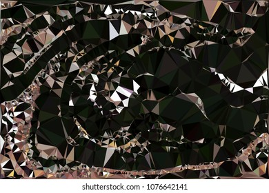 Abstract black polygonal texture background. Geometric marble pattern for graphic design. Can be used as print or wallpaper. Swirl trangle futuristic artwork.