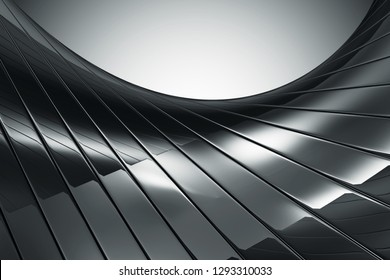 Abstract Black Reflective Background. 3D Rendering