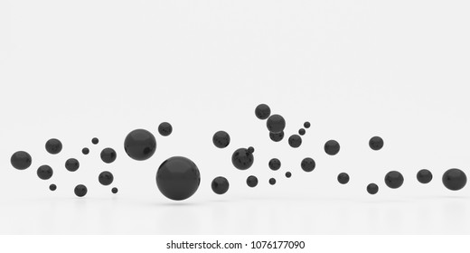 Abstract of black sphere on glossy background.3d rendering