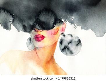 Abstrakte schwarze Sonnenbrillen, Kunst und Mode. Handgemalte Aquarell-Illustration.