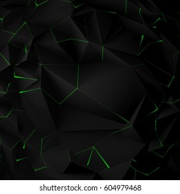 Abstract black triangle background. Faceted paper texture