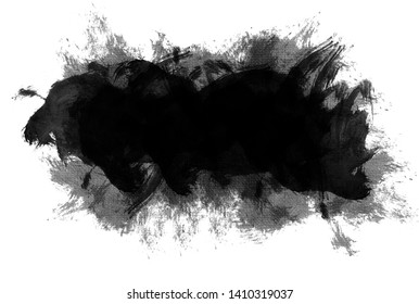 Abstract black watercolor background of black watercolor paint with brush strokes and blots