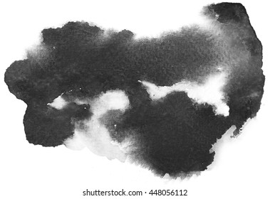 Abstract black watercolor on white background.The color splashing on the paper.It is a hand drawn.