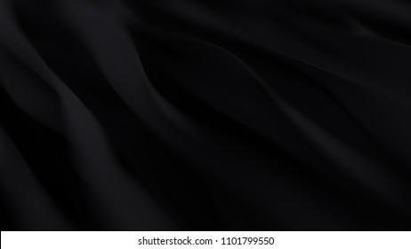 Abstract black wave background. Dark organic smooth line.
