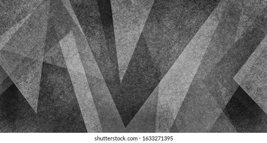 abstract black and white background with texture in modern geometric design with triangle shapes and angled lines layered in graphic art pattern, contemporary creative composition