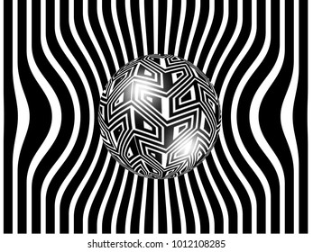 abstract black and white design with spheres