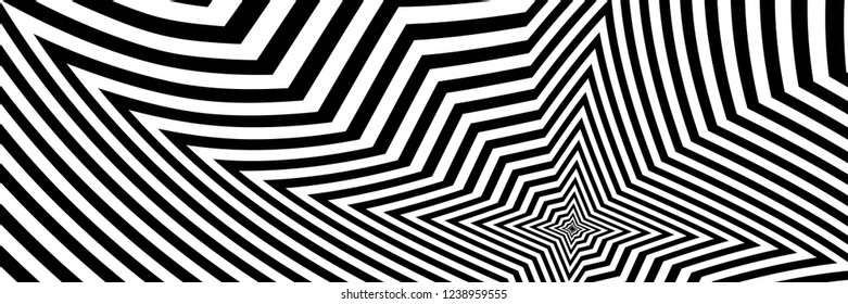 Abstract Black and White Geometric Pattern with Polygons. Psychedelic Texture of Computer Graphic. Raster Illustration