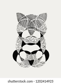 Abstract Black and white illustration. Various shapes and lines. Hand drawn.