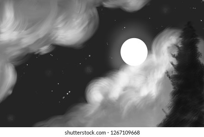 Abstract black and white night sky with moon, clouds and tree.
