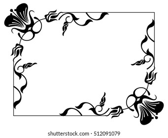 Abstract black and white ornament with decorative flowers. Silhouette frame with free space for text, photo or picture. Raster clip art.