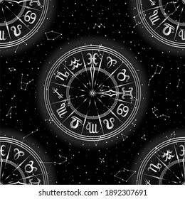 Abstract Black and White Seamless Pattern with Frame of Zodiac Signs. Horoscope Symbol. Hemisphere Sky Map. Bright Constellations on Starry Night Background. Raster Illustration