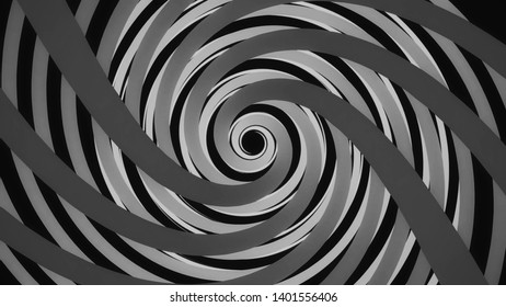 Abstract black and white spiral tunnel spinning, seamless loop. Animation. Endless funnel rotating on black background, monochrome.
