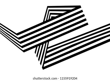 Abstract black and white stripes bent ribbon geometrical shape isolated on white background
