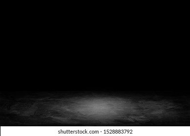 Abstract Black and White of Studio dark room gradient background for interior decoration.