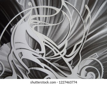 Abstract black and white waves, texture. Drawing by hand. Paper and pencil. Beautiful illustration. Painting for interior decoration. Modern Art. Art Nouveau style