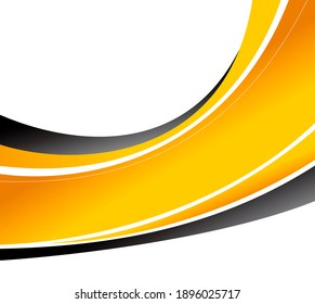 Abstract black and yellow background with wave - brochure design or flyer