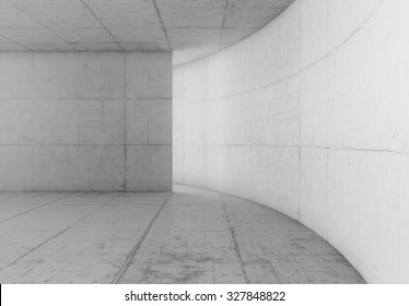 Abstract blank white space of empty white room with white concrete walls. Modern white concrete background.