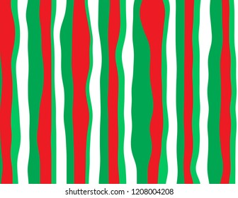 Abstract blended waves of candy cane red, green and white textured christmas background.
