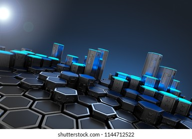 Abstract Blockchain Technology Background. 3D Render