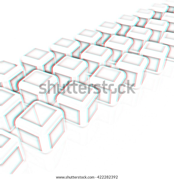 Abstract Blocks 3d Pencil Drawing 3d Stock Illustration 422282392