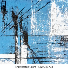 abstract blue acrylic painting on canvas