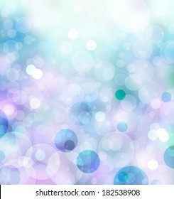 abstract blue background glitter lights, round shapes in geometric circle background, sparkling fantasy dream background, bright white festive bubble background blur, bokeh lights, shine texture