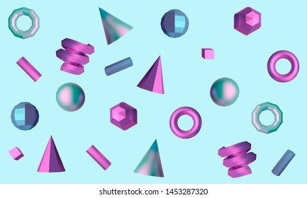 Abstract blue background with graphic elements cube, sphere, tubes and cones. 3d rendering