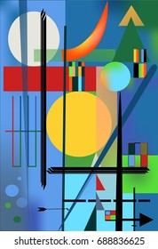 Abstract   blue  background ,inspired by the  painter kandinsky