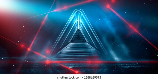 Abstract blue background with neon lights, metal construction, tunnel, corridor, neon lights, red laser lights, smoke. Light pyramid, triangle or cube. 3D Illustration