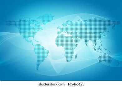 abstract blue background of world map made with dots