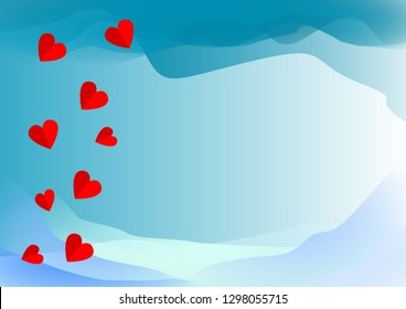 abstract blue color background with heart