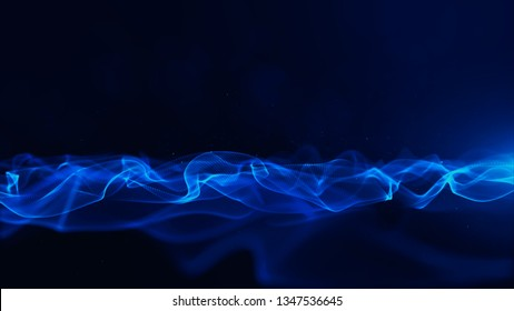 Abstract Blue Color Digital Particles With Bokeh and Light Background