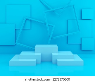 abstract Blue color geometric shape background, modern minimalist mockup for podium display or showcase, 3d rendering
