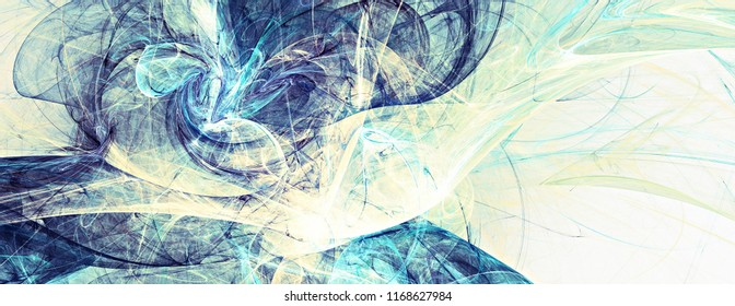 Abstract blue color toned background. Dynamic smoke painting texture. Modern futuristic pattern. Fractal artwork for creative graphic design
