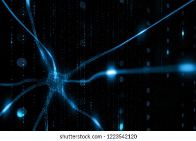 Abstract blue colored neuron cell in the brain on black cyber space illustration background. Selective focus used.