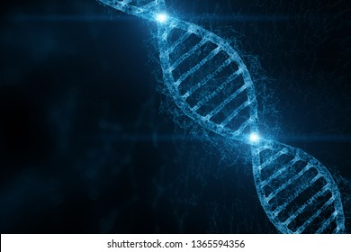 Abstract blue colored shiny dna molecule on futuristic digital 3d illustration background.
