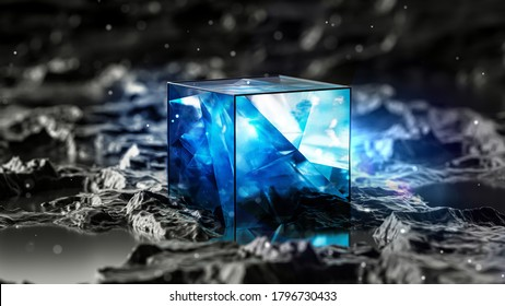 Abstract blue cube in a black landscape. 3d illustration, 3d rendering.