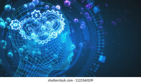 Abstract blue digital head profile with cogwheels. Artificial intelligence backdrop. 3D Rendering