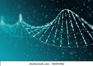 Abstract blue DNA background. Science concept. 3D Rendering