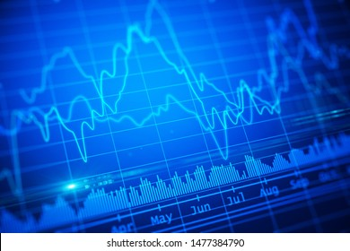 Abstract blue financial chart illustration. trading concept. 3d rendering