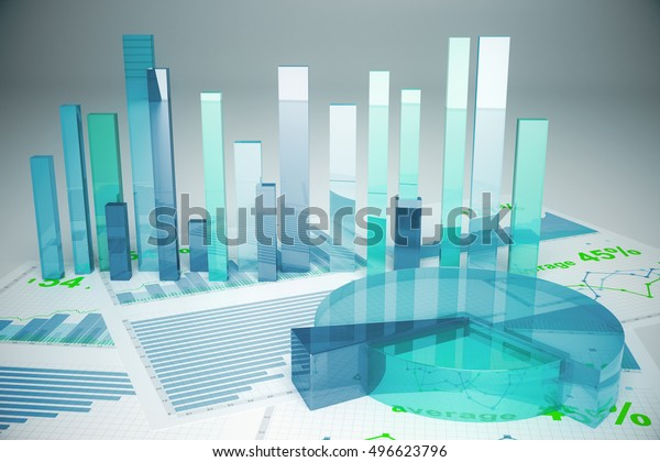 Abstract blue financial charts on light background. 3D Rendering