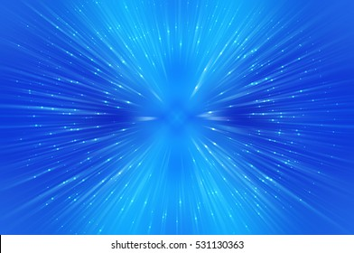 Abstract blue fractal composition. Magic explosion star with particles. motion illustration.