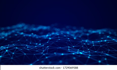 Abstract blue futuristic background. Big data visualization. Digital dynamic wave of particles. 3D rendering.