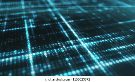 Abstract blue futuristic background of information technology binary digital data code 3d illustration