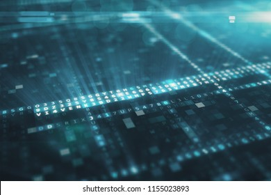 Abstract blue futuristic background of information technology hexadecimal digital data code 3d illustration